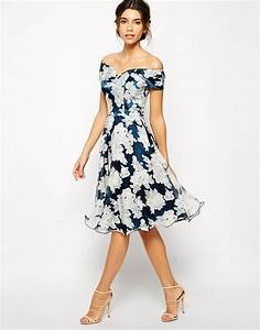 chi chi london printed organza midi prom dress with bardot With midi dress wedding guest