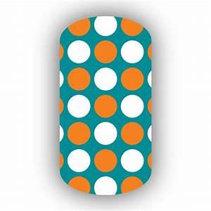 Aqua with White & Light Orange Large Polka Dots Nail Wraps