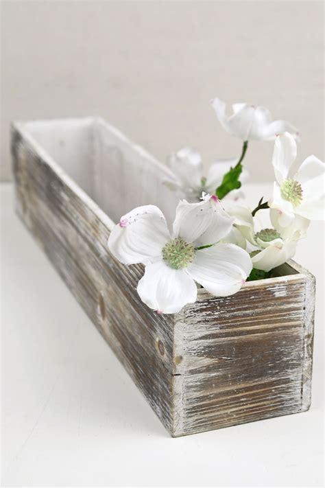 white washed  planter boxes wood