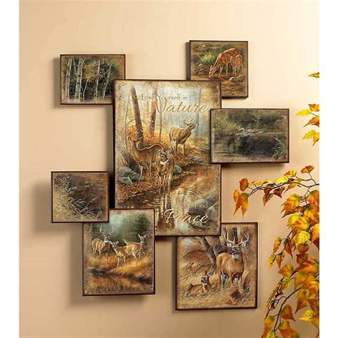 whitetail deer wall art collage cabin place
