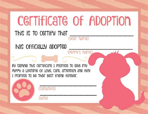 puppy adoption certificate party ideas