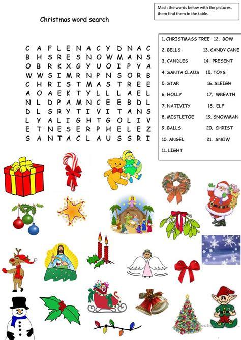 christmas word search worksheet  esl printable