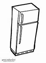 Fridge Refrigerator Coloring Fun Printcolorfun sketch template