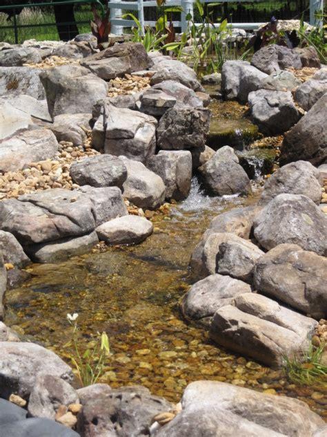 large koi pond  grey garden boulders  ledge rock