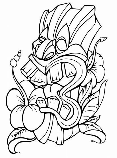 Tiki Coloring Mask Pages Printable Tattoo Drawing