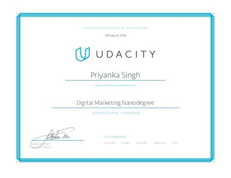 Free Digital Marketing Courses With Certificates by Digital Marketing Nanodegree Program Certificate