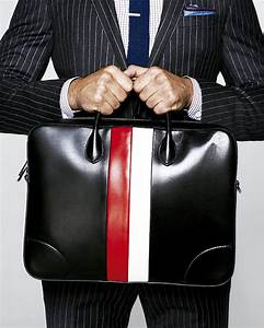 Men's black leather briefcase red/white stripe - Gucci ...