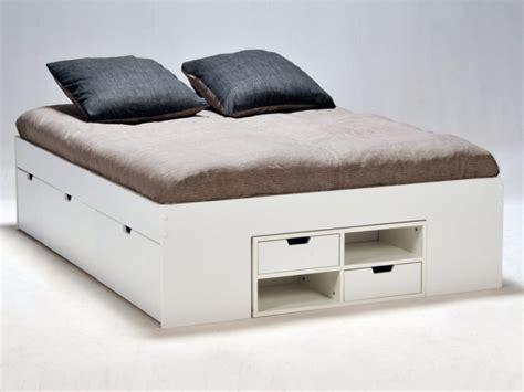 lit blanc avec tiroirs et chevets coulissants denzo