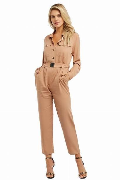 Buckle Jumpsuit Beige Jumpsuits Bardot Clothing Dark