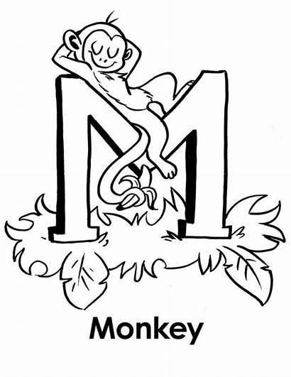 Coloring Letter Monkey Pages Letters Bubble Sleeps