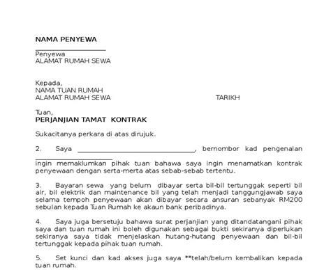 contoh surat penamatan kontrak sewa rumah situs properti