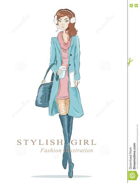 fashion sketch drawing woman  bag  coffee cup