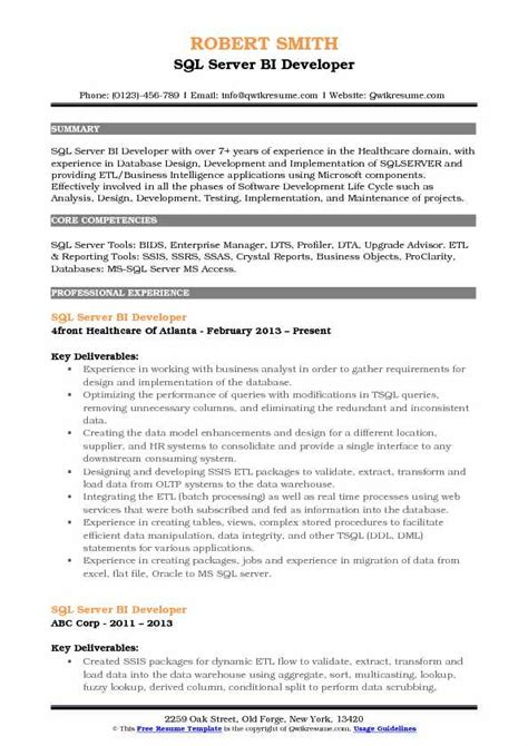 sql server bi developer resume samples qwikresume