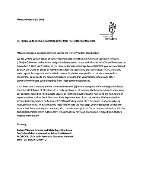 follow   formal resignation letter  hchc board
