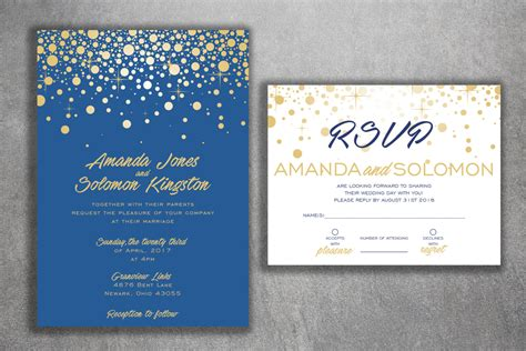 Blue And Gold Sparkle Wedding Invitations Set Printed Cheap