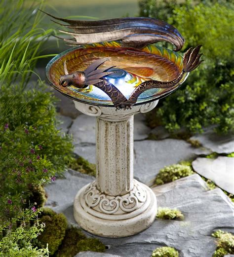 solar lighted dragon birdbath solar birdbaths wind