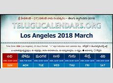 Los Angeles 2018 Telugu Calendar Telugu Calendars