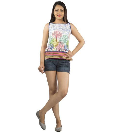 Boat Neck Short Kurti jaipur multicolour cotton boat neck printed sleeveless
