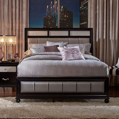 27010 coaster furniture beds coaster barzini bed with metallic leatherette