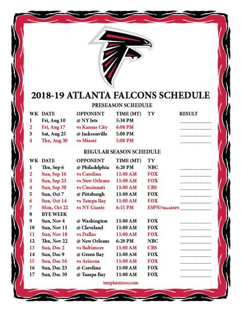printable   atlanta falcons schedule