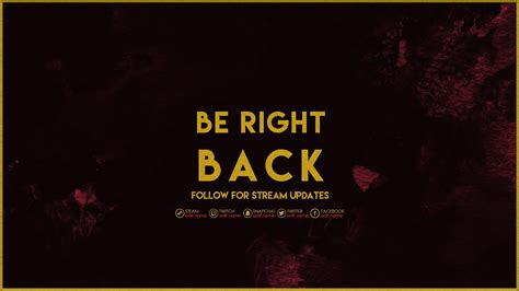 Twitch Be Right Back Screen Template How To by Red Gold Twitch Stream Pack Kireaki