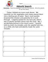 adverb worksheet read  paragraph circle