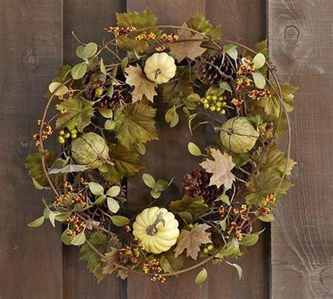 pottery barn wreath thanksgiving wreath ideas faux green harvest pumpkin