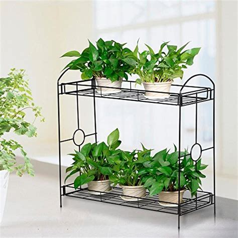Topeakmart Indoor/Outdoor 2 Tier Metal Flower Stand Plant
