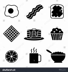 Simple Black White Vector Breakfast Icons Stock Vector ...
