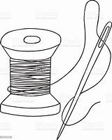 Needle Thread Spool Coloring Wooden Template Freehand Drawn Retro Antique Illlustration Technique Culture Entertainment Arts Usa sketch template