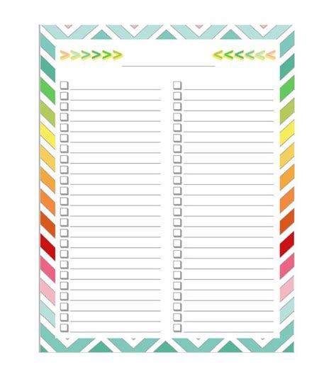 List Template 51 Free Printable To Do List Checklist Templates Excel