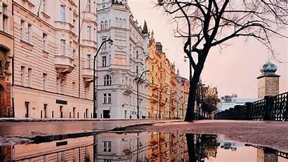 Architecture Reflection Puddle Prague 1080p Czechia Background