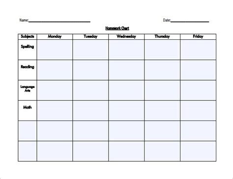 homework timetable template printable schedule template