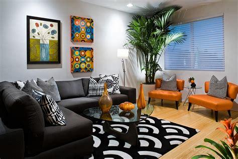 orange  black interiors living rooms bedrooms