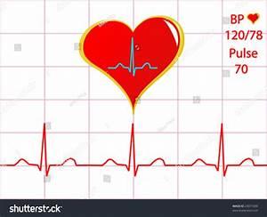 Healthy Heart Vector Illustration Cardiac Trace Stock ...