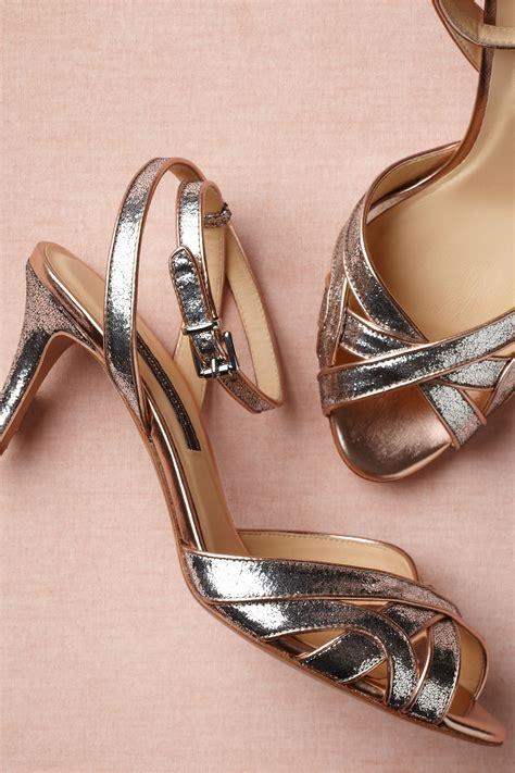 rose gold  silver bhldn wedding shoes onewedcom