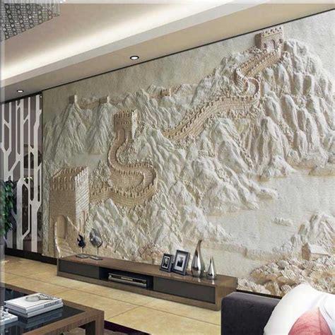 wallpaper great wall sandstone  mural  woven bedroom