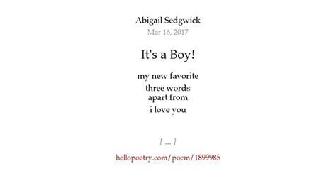written on my it 39 s a boy by abigail sedgwick hello poetry