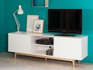Meuble Tv Blanc Laqué Et Bois : meuble tv 2 portes 2 niches en bois laqu blanc pieds ~ Teatrodelosmanantiales.com Idées de Décoration