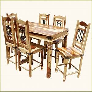 Rectangle Counter Height Pub Wood Dining Room Table & 6