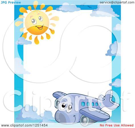 clipart   border   happy cute airplane  sun