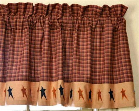 Primitive Country Folk Art Black Tan Star Valance Rust Brown Window Curtain Silver Curtains Drapes Velcro For Pine Cone Shower Curtain Hooks Small White Striped Nickel Rings Green Horizontal Horse And Groom Road