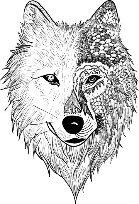 Volwassen Kleurplaat Wolf by Wolf Zentangle By Inkedmonsterz On Deviantart