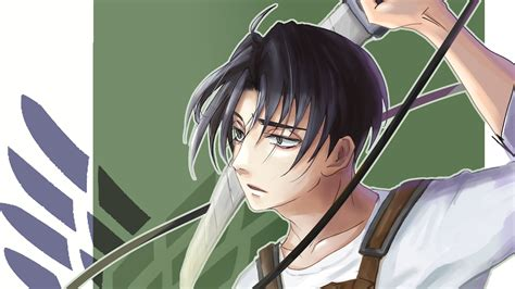 Attack On Titan Levi Ackerman With Sword With Green