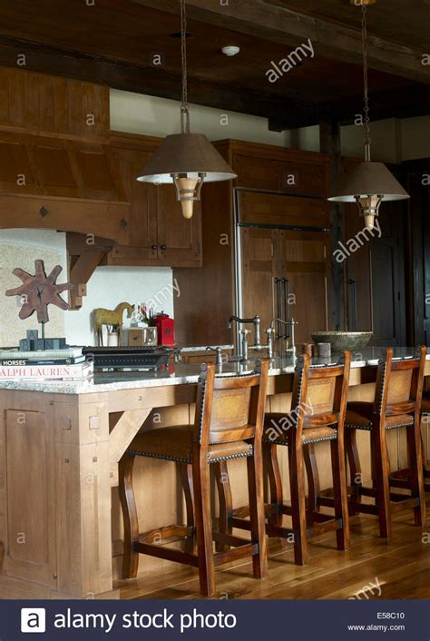restaurant country kitchen bar stools at breakfast bar in country style kitchen usa 1899