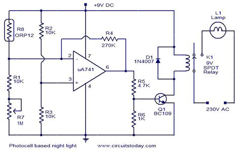 Photocell Based Night Light Electronic Circuits