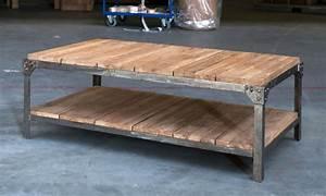 Table Bois Et Fer : table basse fer et bois table basse blanc et noir trendsetter ~ Teatrodelosmanantiales.com Idées de Décoration