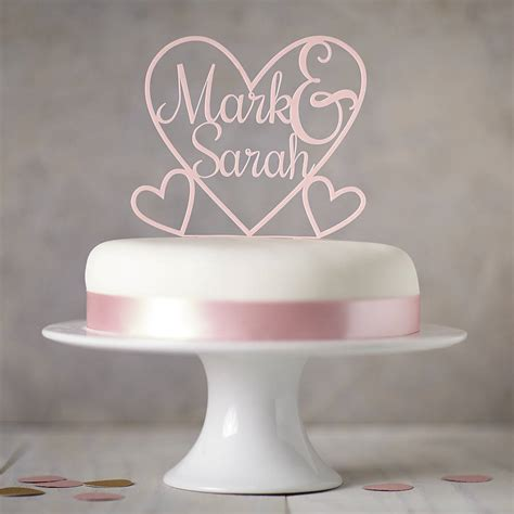 personalised heart cake topper  sophia victoria joy