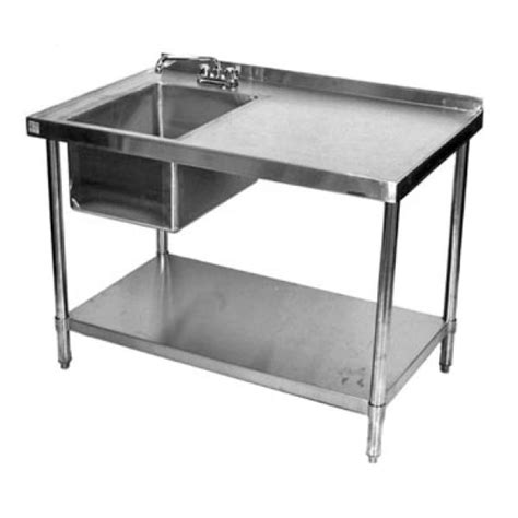 stainless kitchen sinks klingers stb2472bl work table with prep sink on left 72 2472