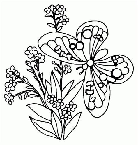 Riscos de flor com borboletas para pintar Atividades